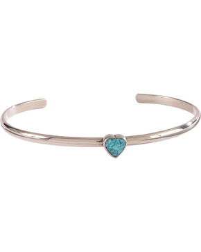 Silver Legends Women's Sterling Silver & Turquoise Heart Bracelet, Turquoise, hi-res