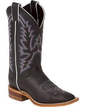 Justin Women's Bent Rail Collection Western Boots, Black, hi-res