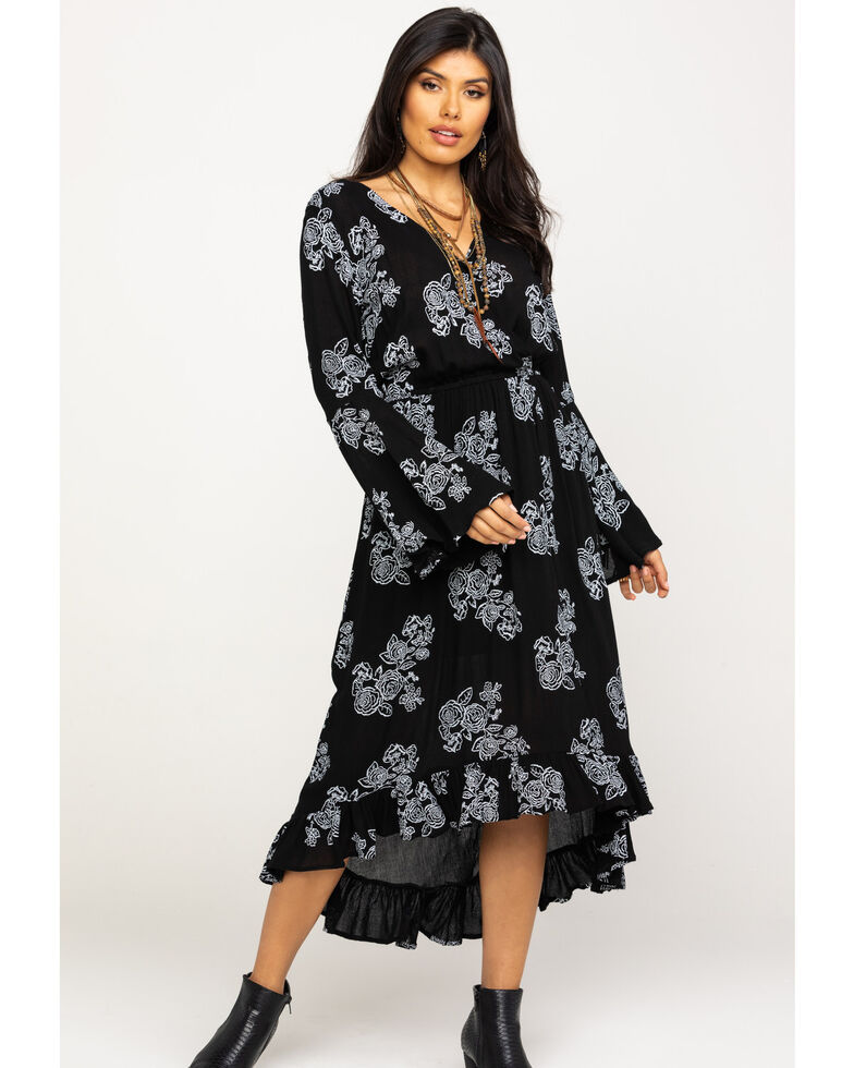 Rock & Roll Cowgirl Women's Rose Faux Wrap Dress, Black, hi-res