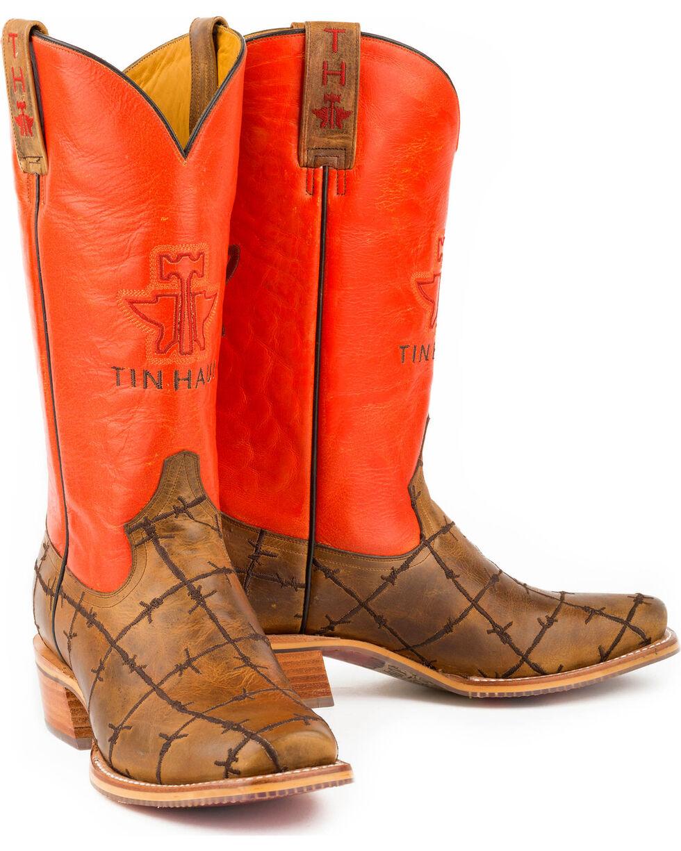 Tin Haul Men's Barbwire Western Boots, Tan, hi-res