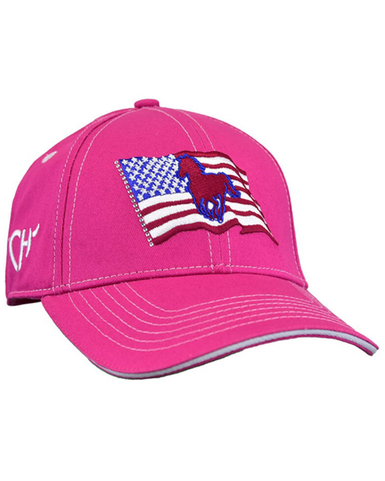 Cowgirl Hardware Girls' Wavy Flag Pony Embroidered Solid Back Ball Cap , Pink, hi-res