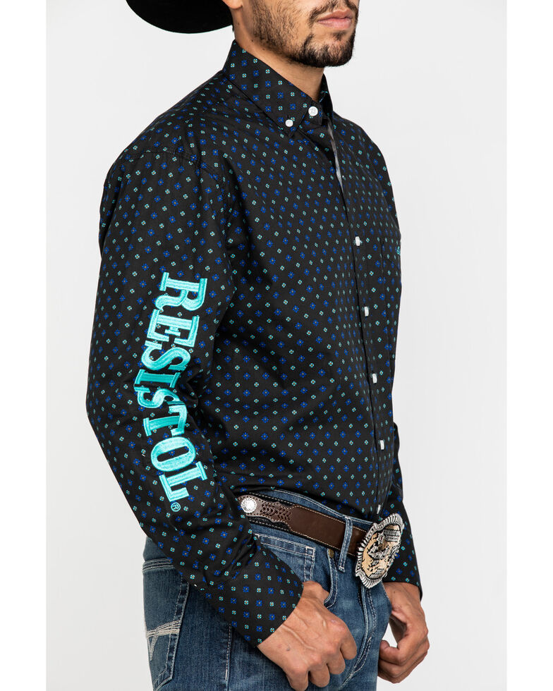 Resistol Men's Navy Kash Logo Geo Print Long Sleeve Western Shirt , Multi, hi-res