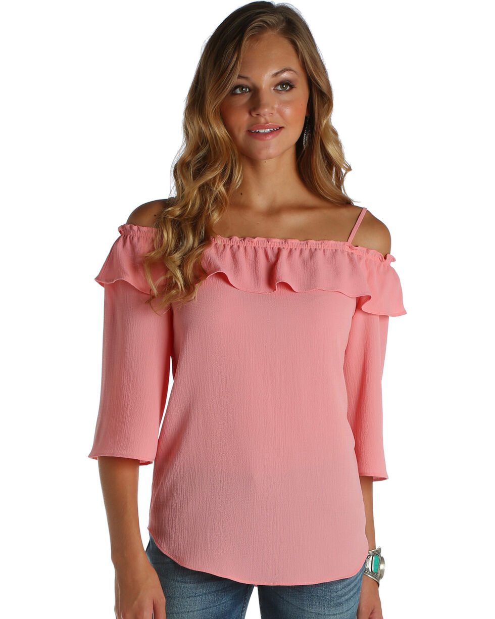 Wrangler Women's Off-The-Shoulder Ruffle Top, Light Pink, hi-res