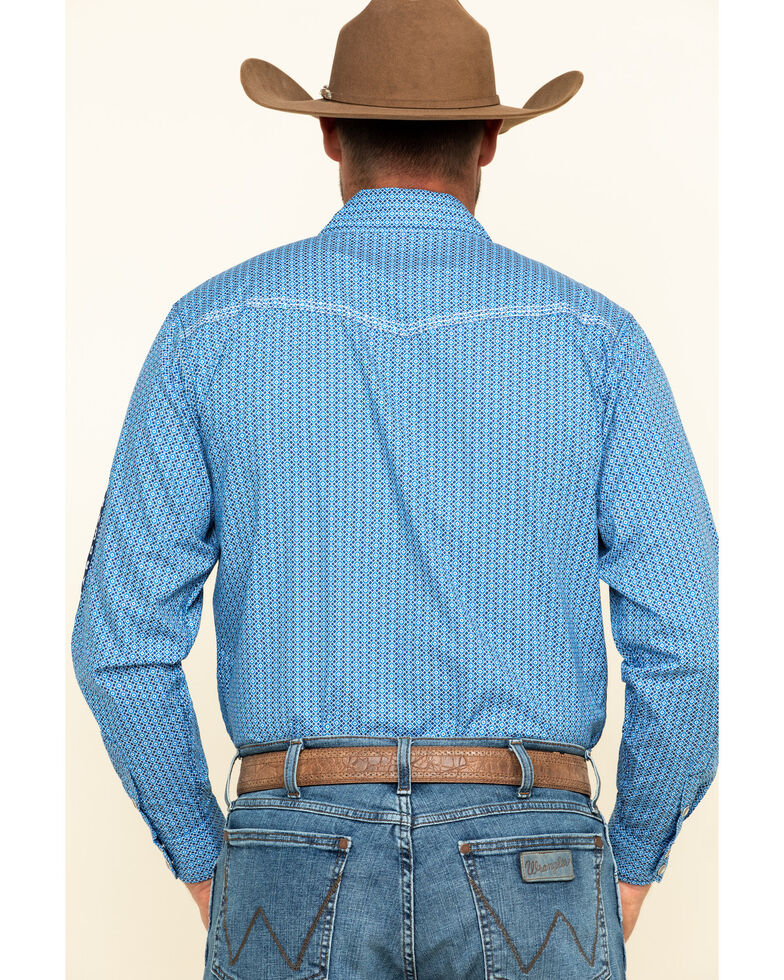 Cowboy Hardware Men's Royal Overlap Geo Print Long Sleeve Western Shirt , , hi-res