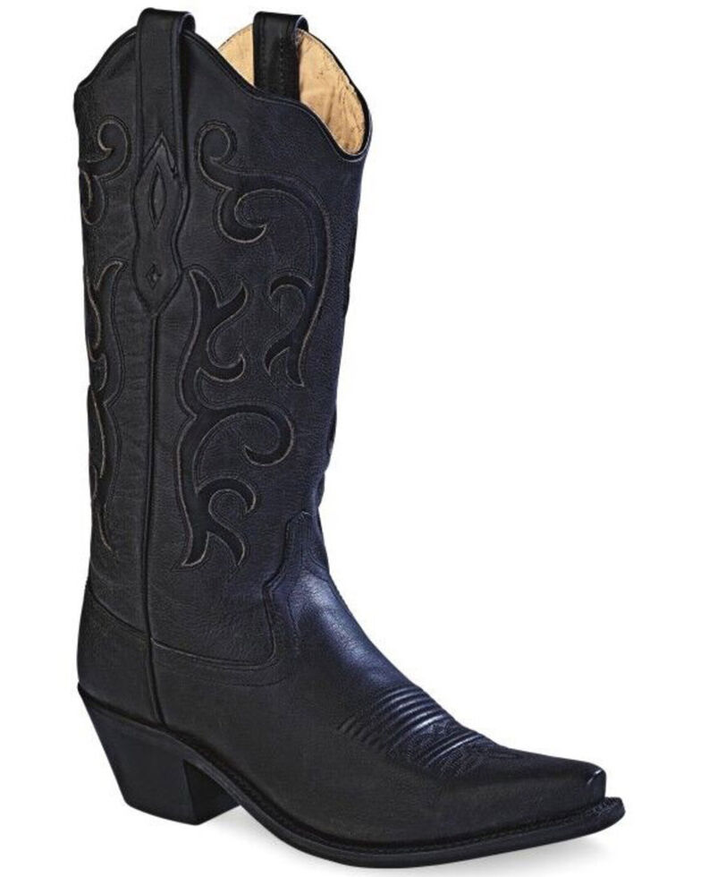 "Old West Women's Black 12"" Western Boots - Snip Toe, Black, hi-res"