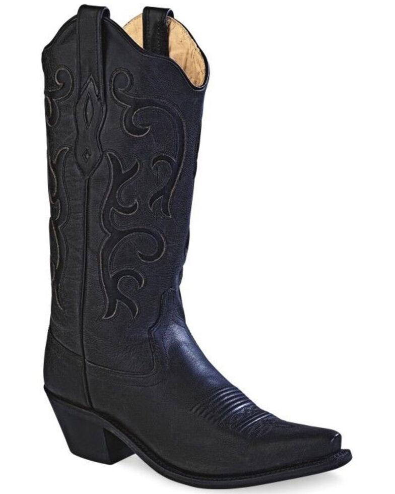 "Old West Women's Black 12"" Western Boots - Snip Toe, Black, hi-res"