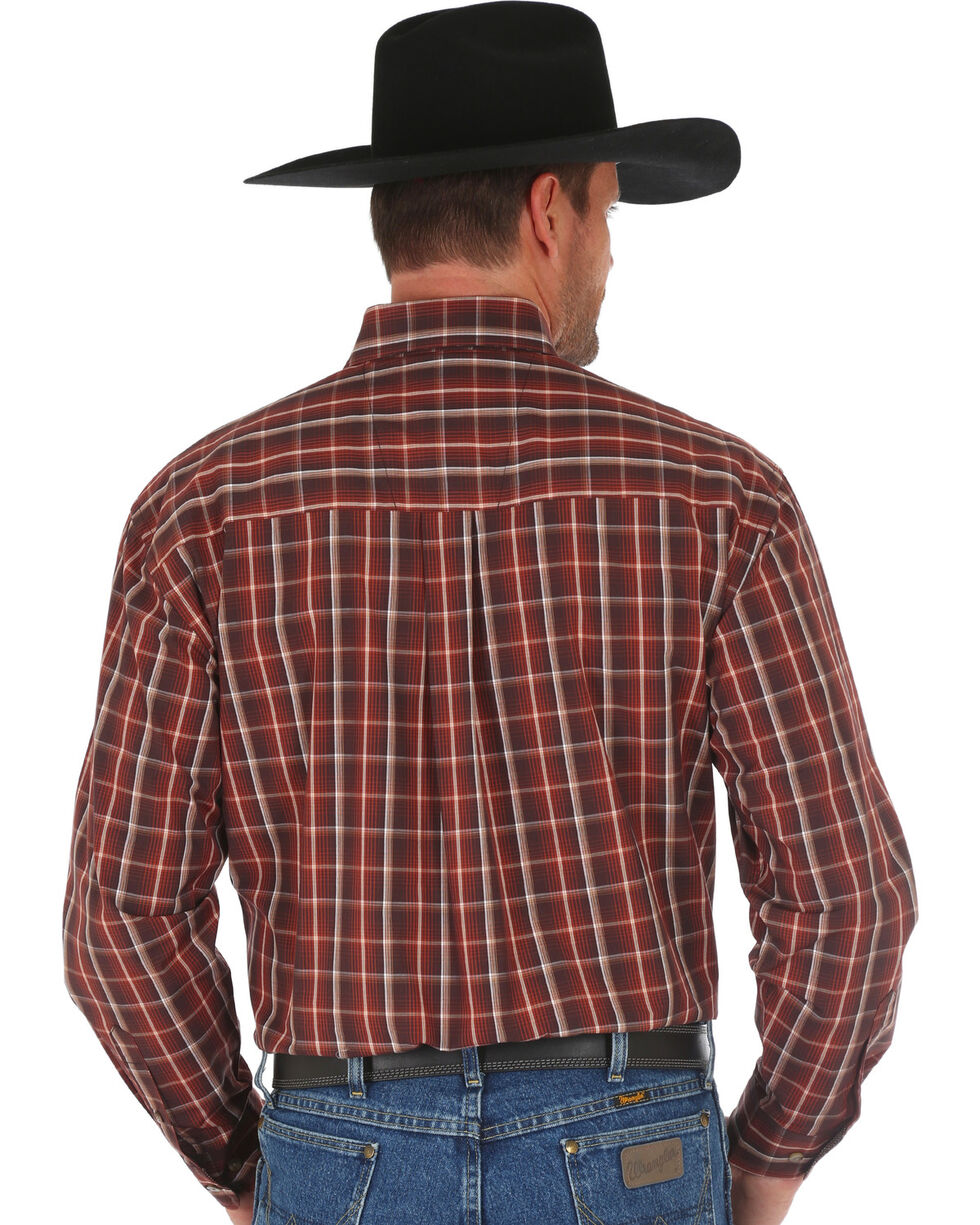 George Strait by Wrangler Men's Brown Plaid Long Sleeve Western Shirt , Brown, hi-res