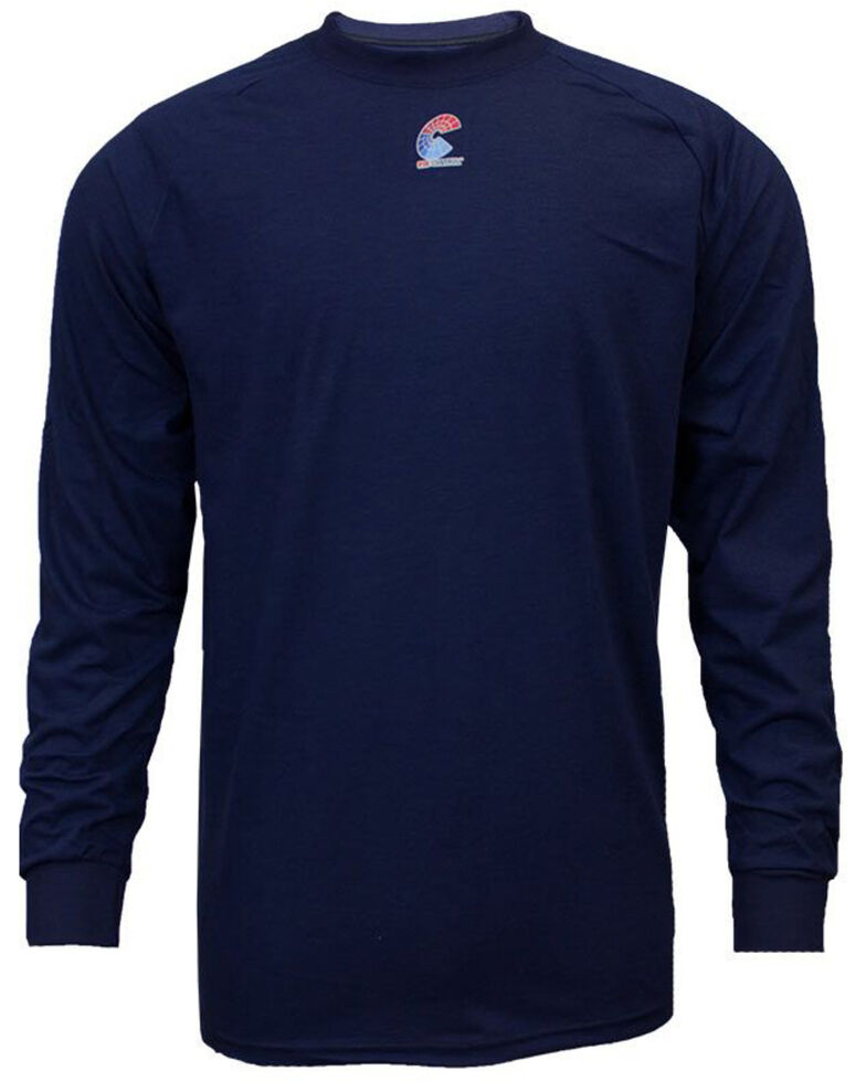 National Safety Apparel Men's Navy FR Control Long Sleeve Work T-Shirt - Tall , Navy, hi-res