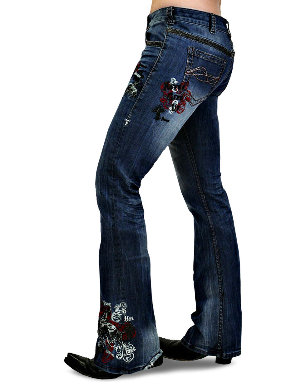 Cowgirl Tuff Women's Unbelievable Red Spirit Jeans - Boot Cut , Red, hi-res