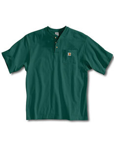 Carhartt Men's Solid Short Sleeve Henley Work Shirt, Green, hi-res