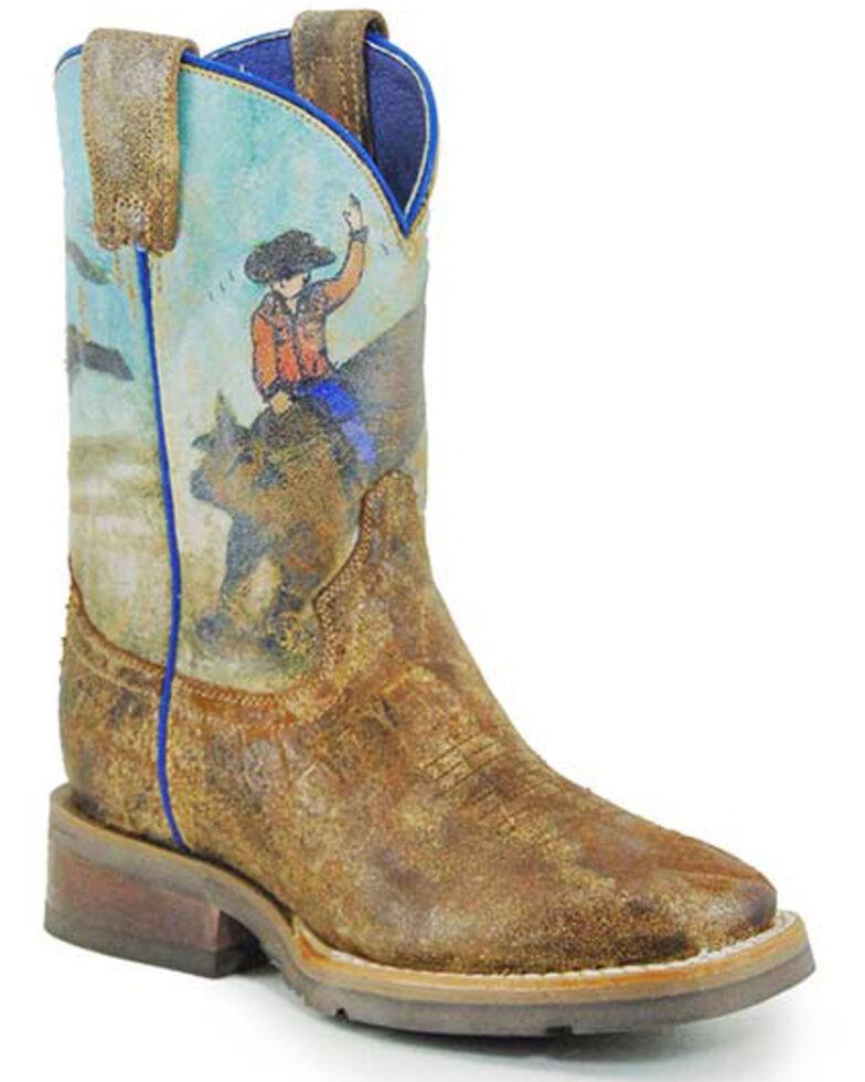 Roper Boys' Saddle Rider Western Boots - Square Toe, Tan, hi-res