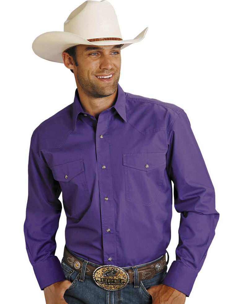 Roper Men's Amarillo Collection Solid Long Sleeve Western Shirt, Purple, hi-res