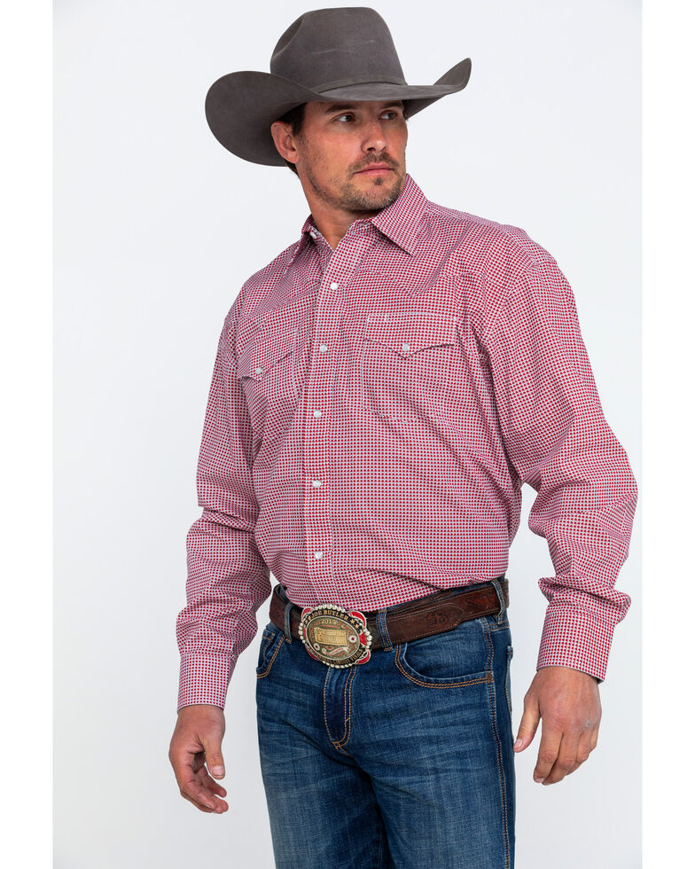 Stetson Men's Small Geo Print Long Sleeve Western Shirt , , hi-res