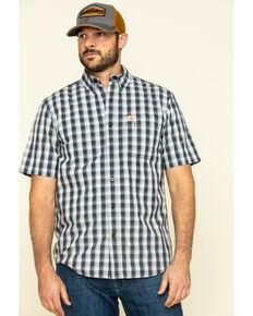 Carhartt Men's Navy Essential Plaid Button Down Short Sleeve Work Shirt - Big , Navy, hi-res