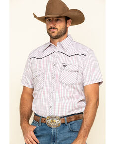 Cowboy Hardware Men's White Rake Plaid Short Sleeve Western Shirt , White, hi-res