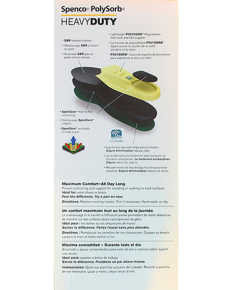 55cbe7e389 Zoomed Image Spenco Polysorb Heavy Duty Occupational Insoles, Green, hi-res