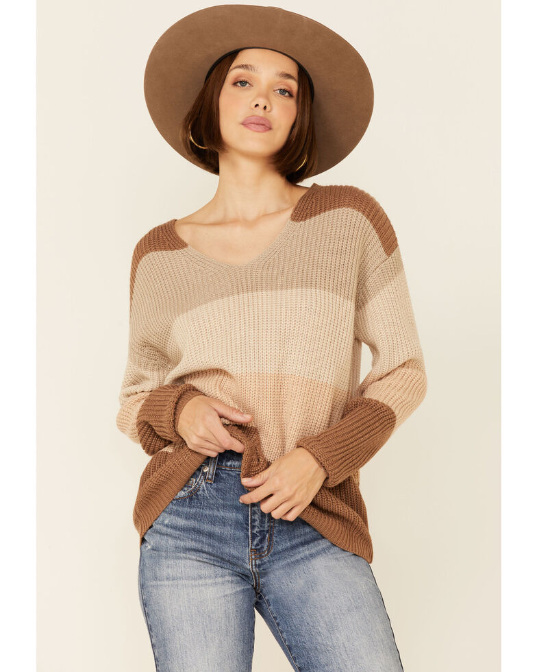 Rock & Roll Denim Women's Brown & Ivory Stripe Lace Back Sweater , Brown, hi-res