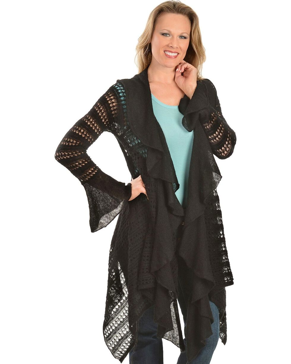 Ariat Hacienda Asymmetrical Black Cardigan, Black, hi-res