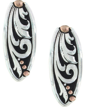 Montana Silversmiths Women's Leather Cut Trailing Vine Earrings , Silver, hi-res