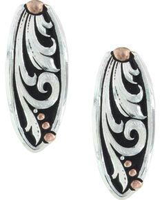 Montana Silversmiths Women's Leather Cut Trailing Vine Earrings , Silver, hi-res