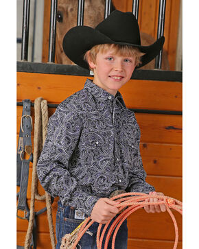 Cinch Boys' Black Paisley Print Long Sleeve Western Shirt, Black, hi-res