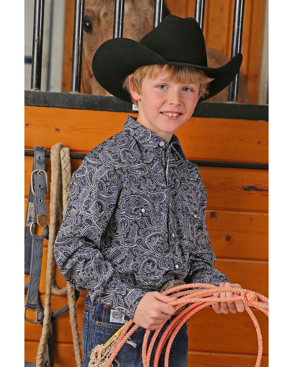 Cinch Boys' Black Paisley Print Long Sleeve Western Shirt, Black, hi-res