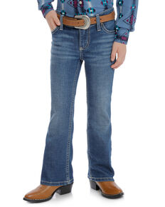 Wrangler Girls' Medium Everyday Bootcut Jeans, Blue, hi-res