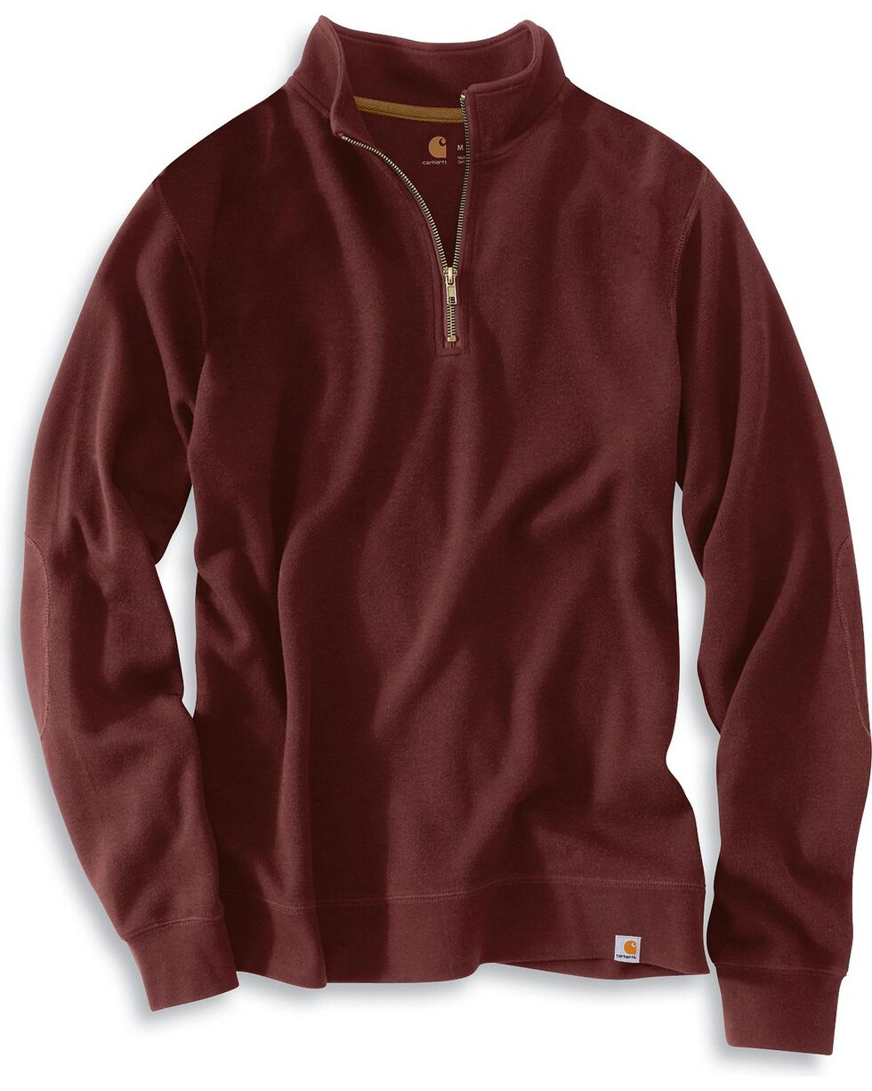 Carhartt Men's Quarter Zip Sweatshirt, Port, hi-res
