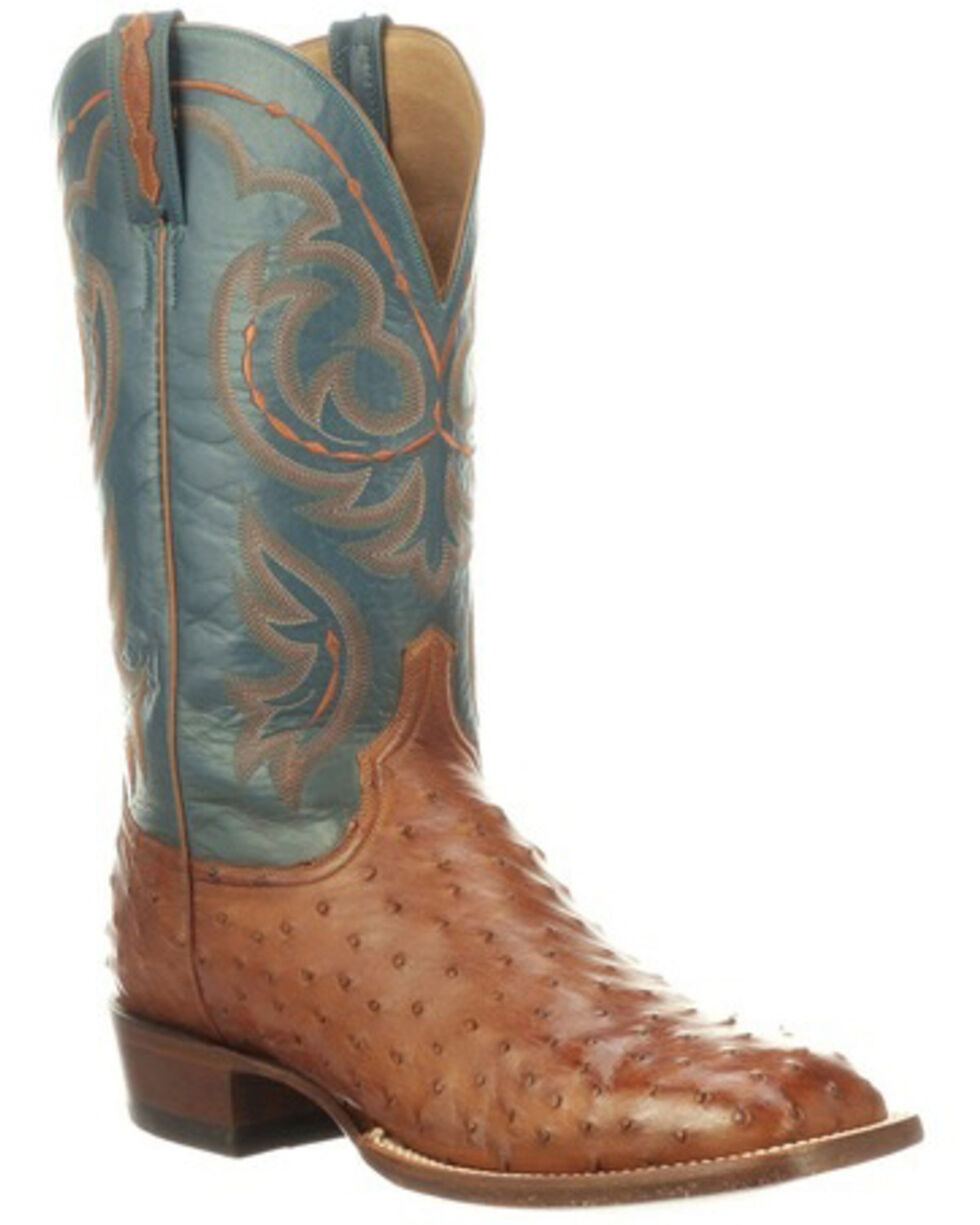 Lucchese Men's Harris Full-Quill Ostrich Western Boots - Wide Square Toe, Mahogany, hi-res