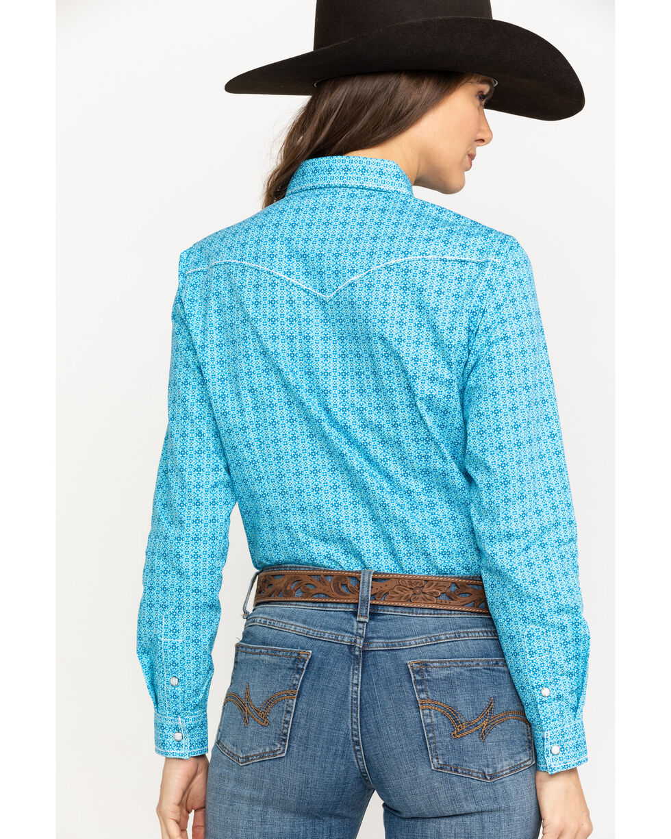 Rough Stock by Panhandle Women's Narodini Antique Print Long Sleeve Western Shirt , Blue, hi-res