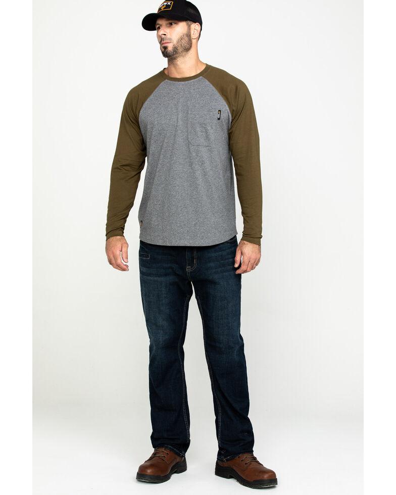Hawx Men's Olive Baseball Raglan Crew Long Sleeve Work Shirt, Olive, hi-res