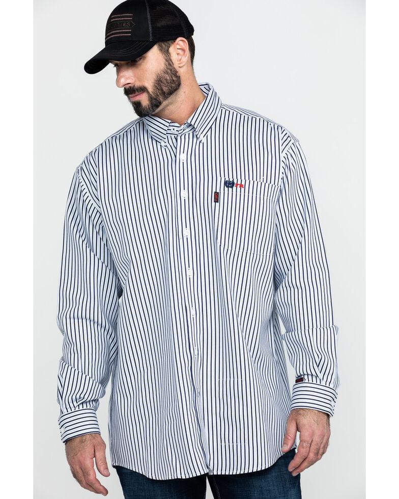 Cinch Men's FR Lightweight Vertical Striped Long Sleeve Work Shirt - Big , Navy, hi-res