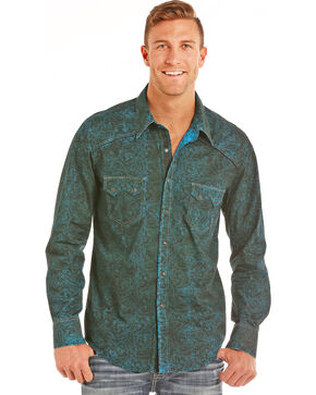 Rock & Roll Cowboy Men's Spray Washed Paisley Long Sleeve Shirt, Blue, hi-res