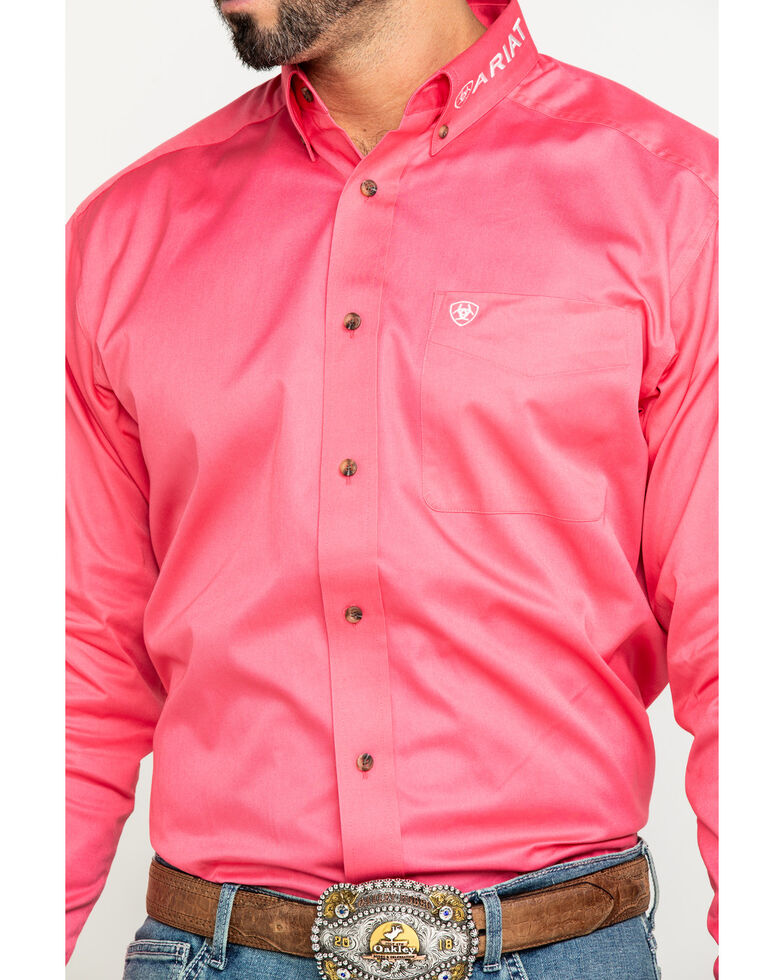 Ariat Men's Rose Team Logo Twill Long Sleeve Western Shirt - Tall , Pink, hi-res