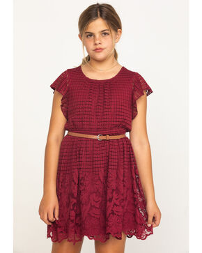 Shyanne Girls' Lace Detailed Short Sleeve Dress , Burgundy, hi-res