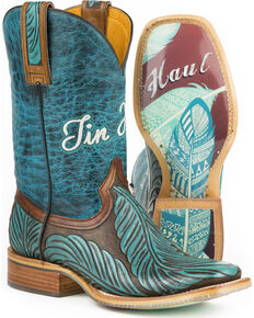 Tin Haul Women's Feathers Western Boots, Turquoise, hi-res