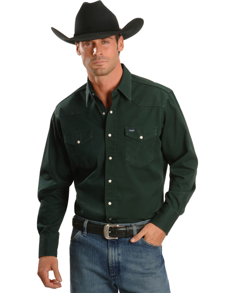 Wrangler Men's Cowboy Cut Firm Finish Long Sleeve Work Shirt, Forest Green, hi-res