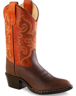 Old West Boys' Orange Cowboy Boots - Round Toe, Brown, hi-res