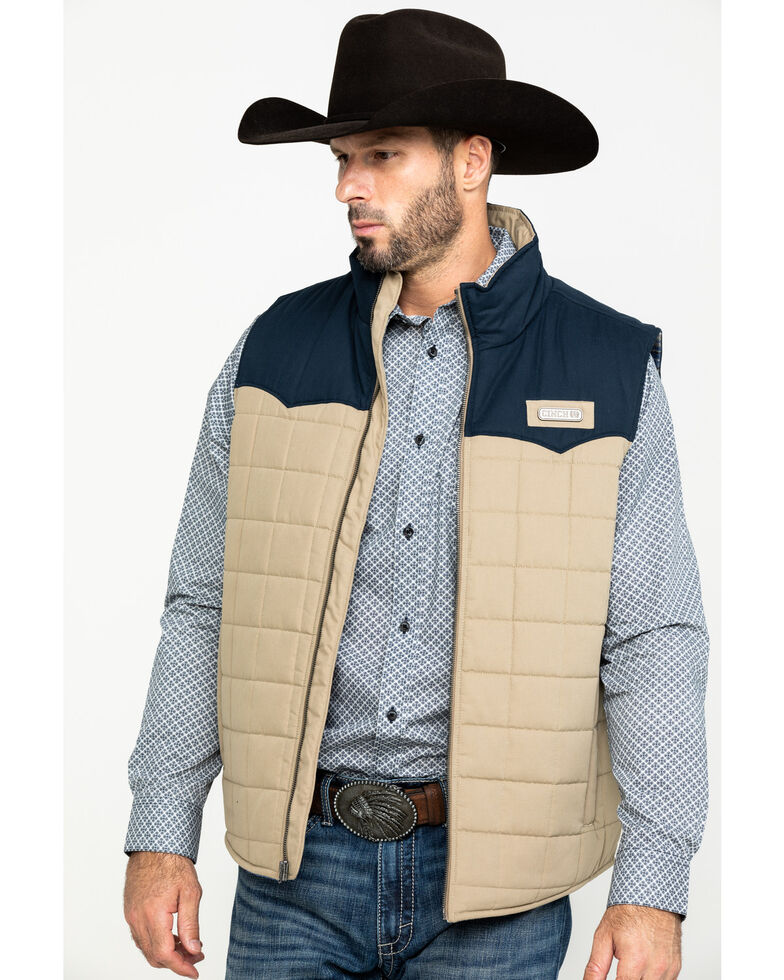 Cinch Men's Multi Color Blocked Quilted Puffer Vest , Purple, hi-res