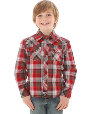 Rock 47 by Wrangler Boys' Plaid Western Long Sleeve Shirt, Red, hi-res