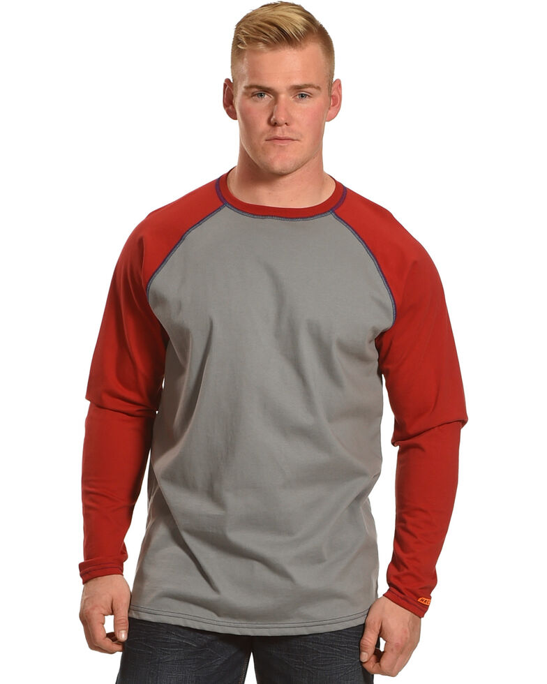 Wrangler Men's Red FR Flame Resistant Knit Baseball Long Sleeve Work Shirt , Red, hi-res