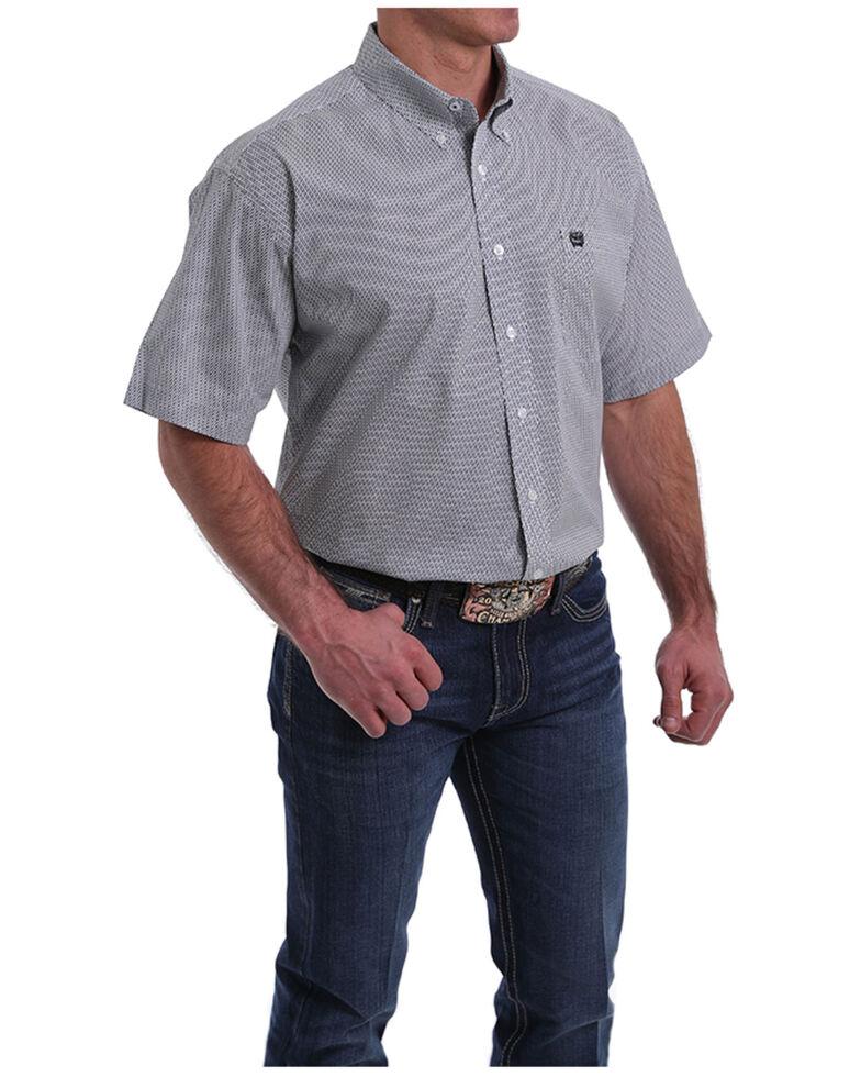 Cinch Men's Small White Geo Print Short Sleeve Button-Down Western Shirt , White, hi-res