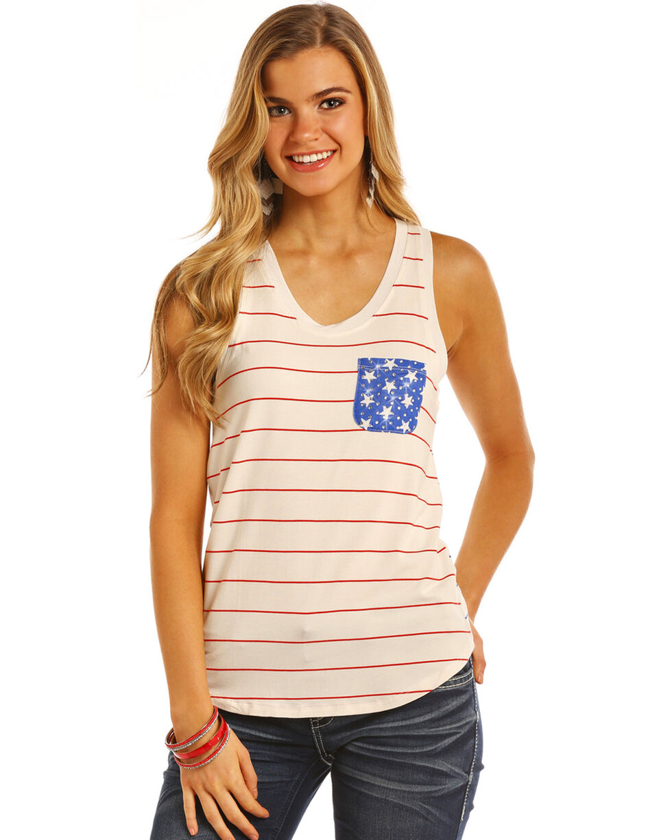 Rock & Roll Cowgirl Women's Red & Blue Stripe Pocket Tank , Red, hi-res