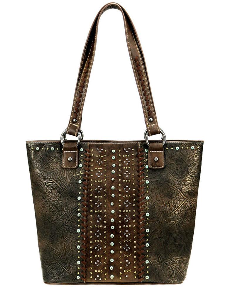 Montana West Women's Metallic Tooled Tote Bag, Coffee, hi-res