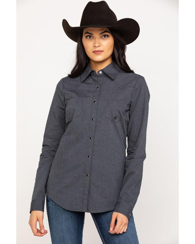 Roper Women's Grey Long Sleeve Western Shirt, Grey, hi-res