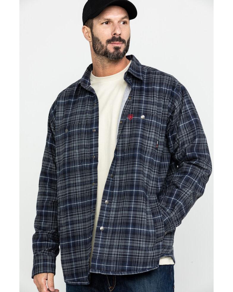 Ariat Men's Grey FR Monument Plaid Work Shirt Jacket - Tall , Grey, hi-res