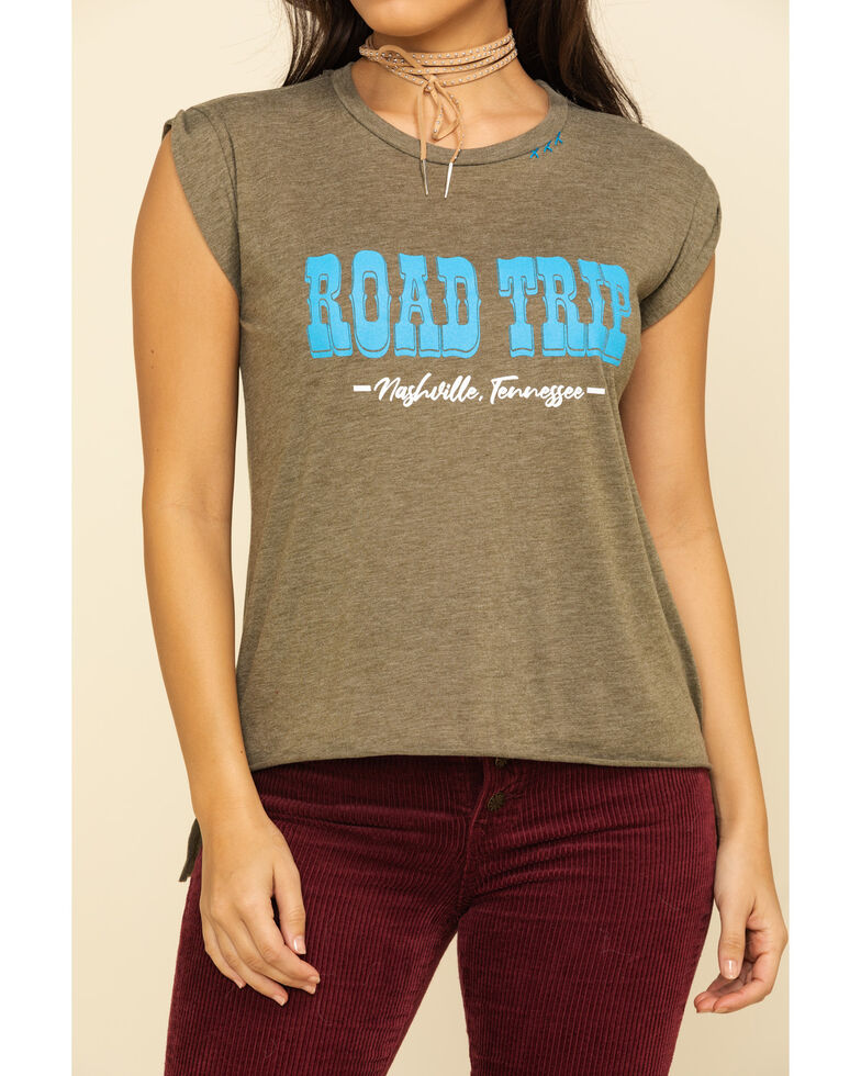 Bohemian Cowgirl Women's Olive Road Trip  Muscle Tee, Olive, hi-res