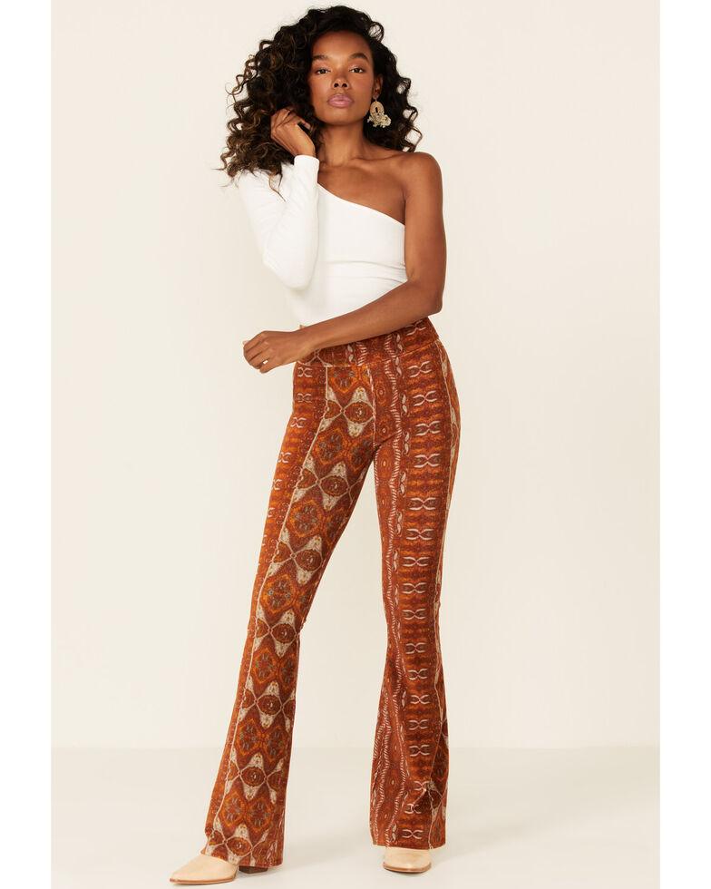 Shyanne Women's Pecan Pull-On Flare Leg Pant, Pecan, hi-res