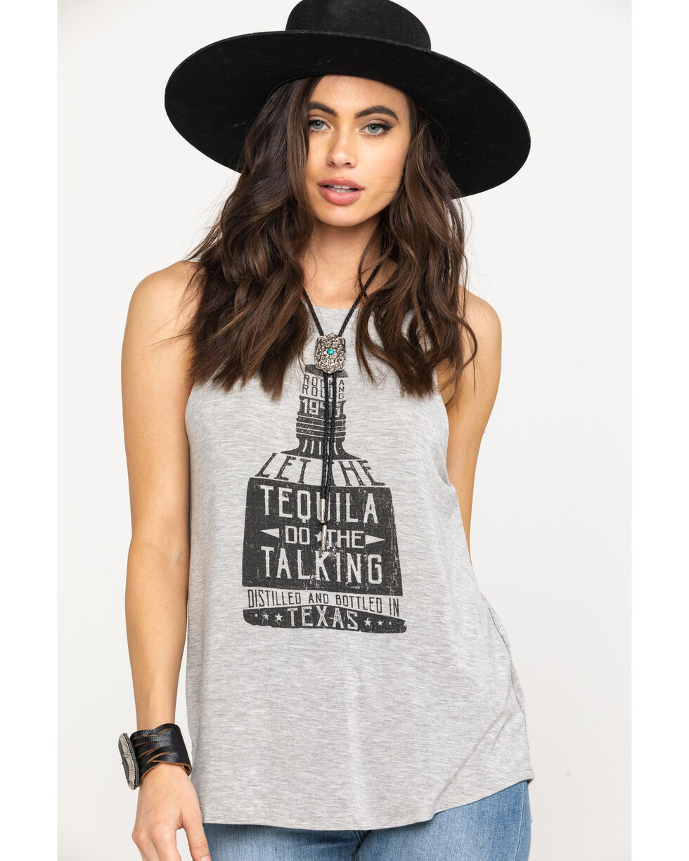 Rock & Roll Cowgirl Women's Grey Let The Tequila Do The Talking Tank Top, Heather Grey, hi-res