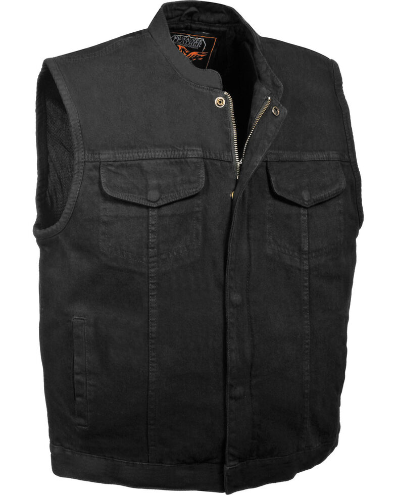 Milwaukee Leather Men's Concealed Snap Denim Club Style Vest - 4X, Black, hi-res
